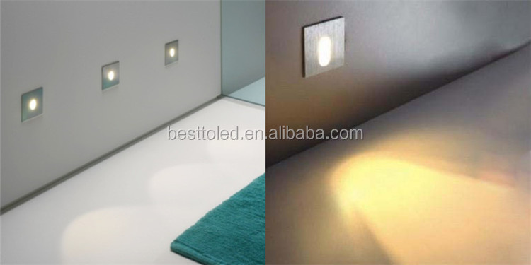 Indoor elegant ultra-thin wall lamp 1w square led step light for Step lighting