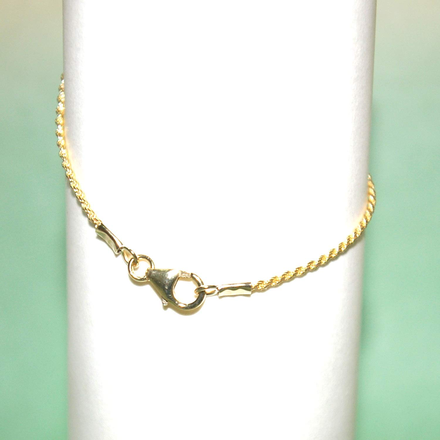 Leslies 10k Yellow Gold Polished 1.5mm Rope Pendant Chain Bracelet 8-24