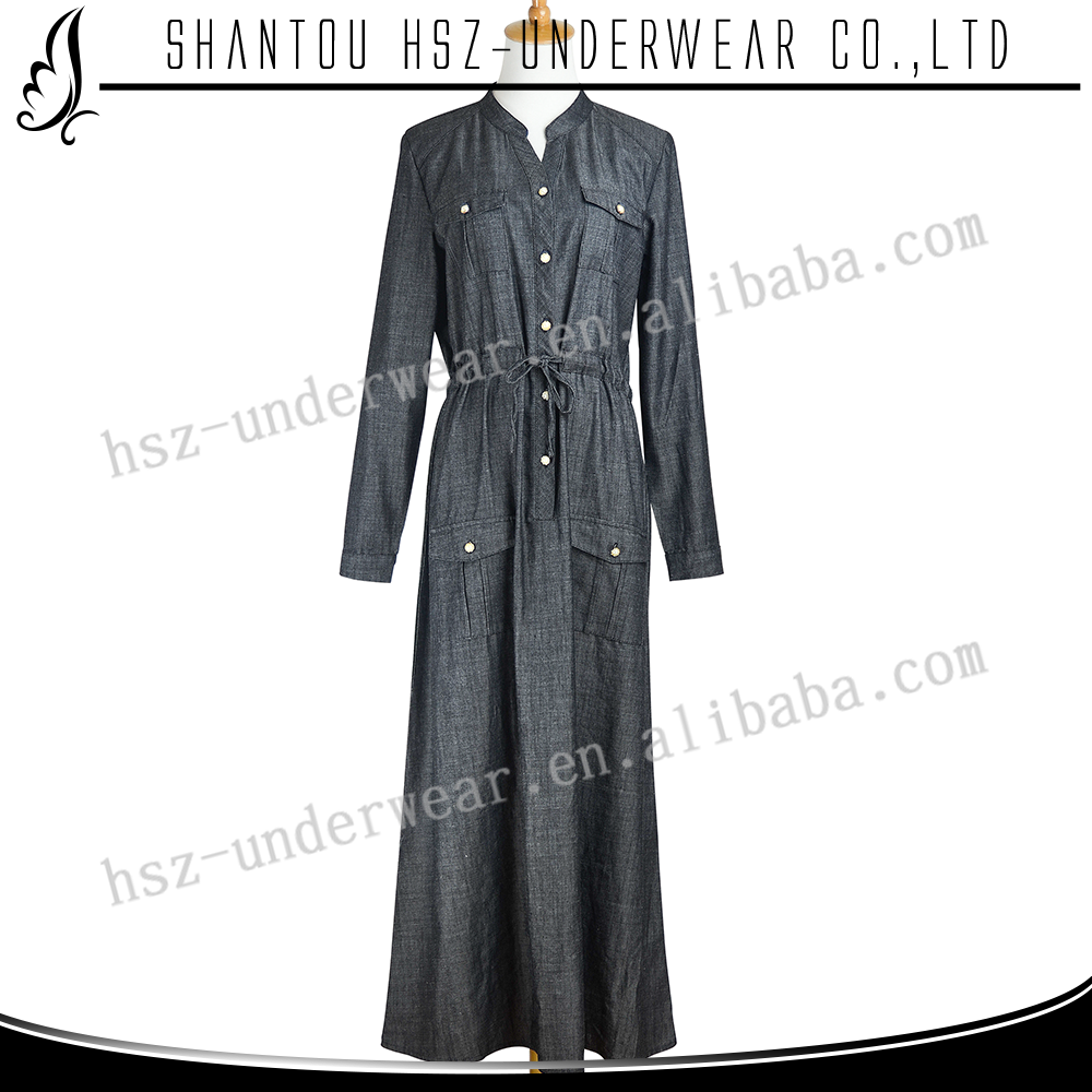 MD887 Latest abaya designs elegant women casual muslim denim dress women turkey blue jeans hot sale