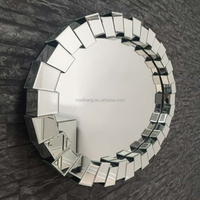 Antique metal wall art mirror handicraft decorative sun shaped wall mirror