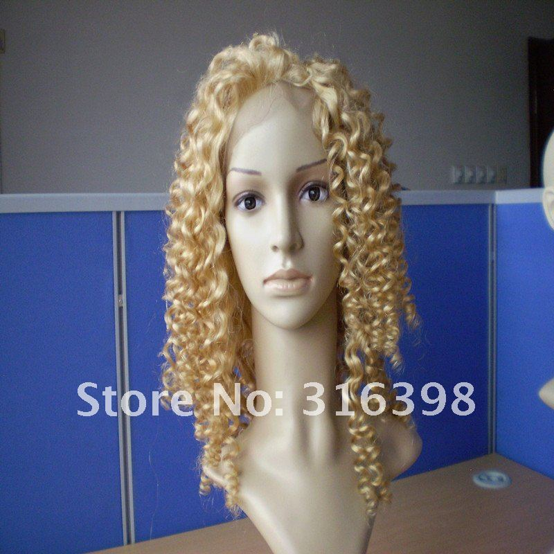 Beautiful Curly Cambodian Human Hair Blonde Full Lace Wigs