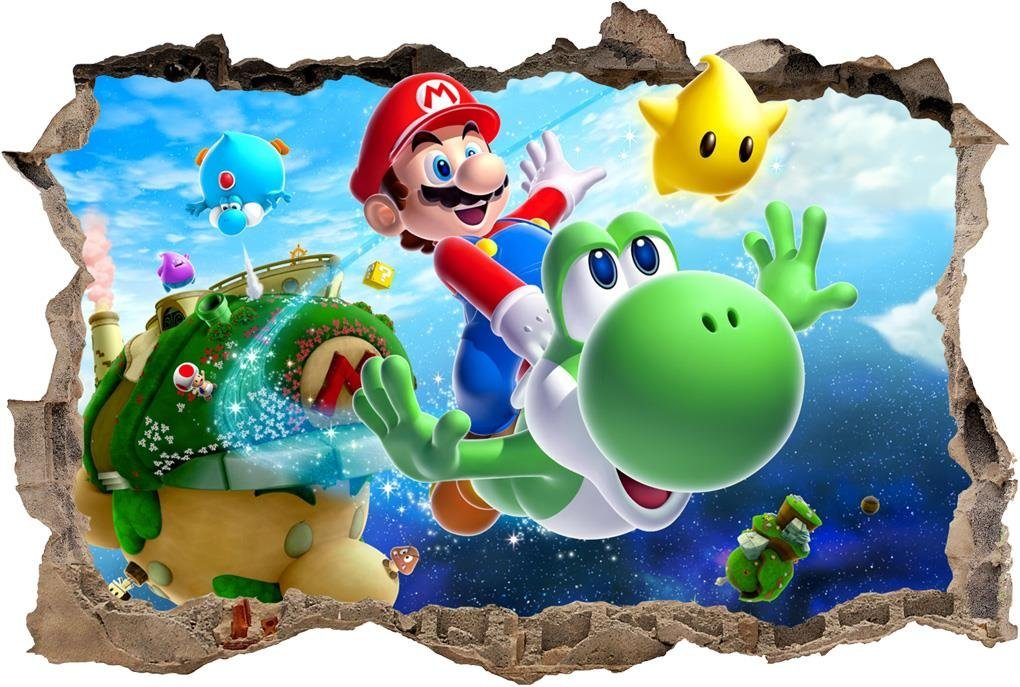 1d4739b683 Get Quotations · Super Mario Bros Galaxy Smashed Wall Decal Removable Wall  Sticker Yoshi H193
