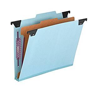 Smead FasTab Hanging Pressboard Classification Folder with SafeSHIELD Fastener, 1 Divider, 2/5-Cut Built-in Tab, Letter Size, Blue 10 per Box (65105)