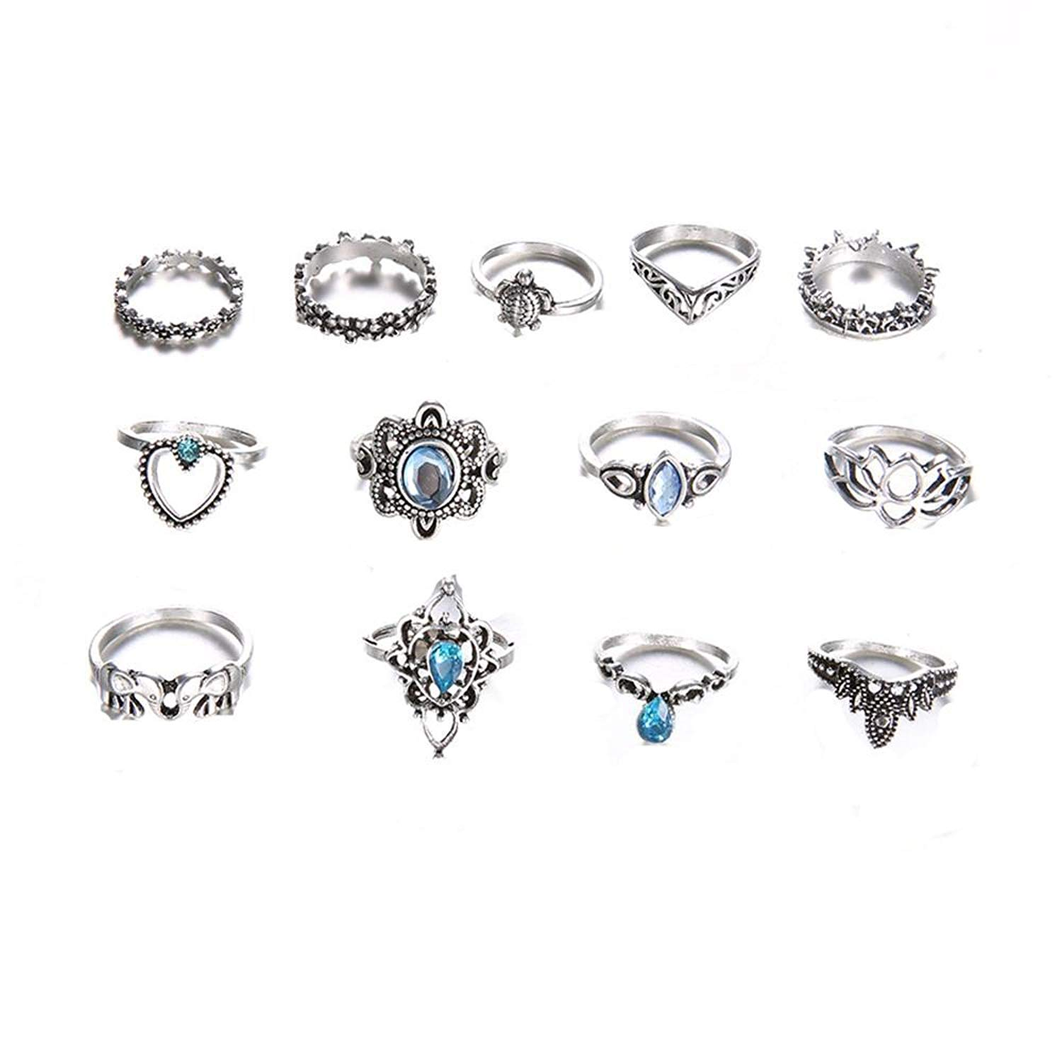 dac4811a0 Get Quotations · Women Bohemian Vintage Silver Crystal Stack Rings Above  Knuckle Rings Set