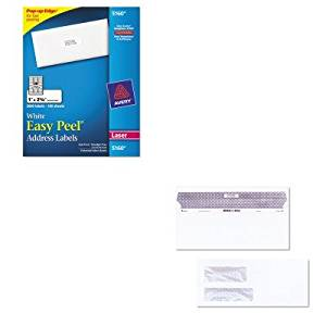 KITAVE5160QUA67529 - Value Kit - Quality Park Reveal-N-Seal Double Window Invoice Envelope (QUA67529) and Avery Easy Peel Laser Address Labels (AVE5160)