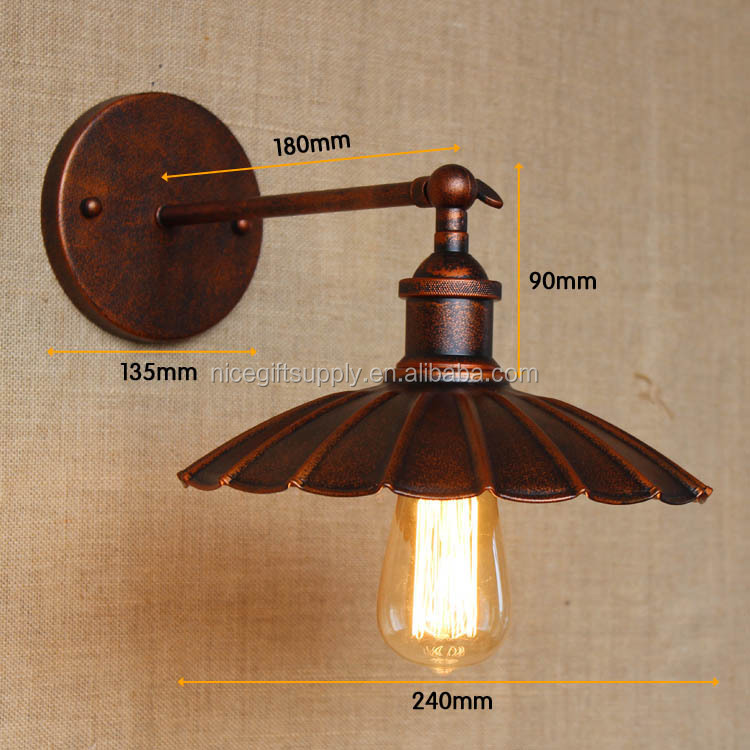 Industrial innovation retro nostalgic restoring ancient ways old rusty Little black dress adornment led wall lamp umbrella