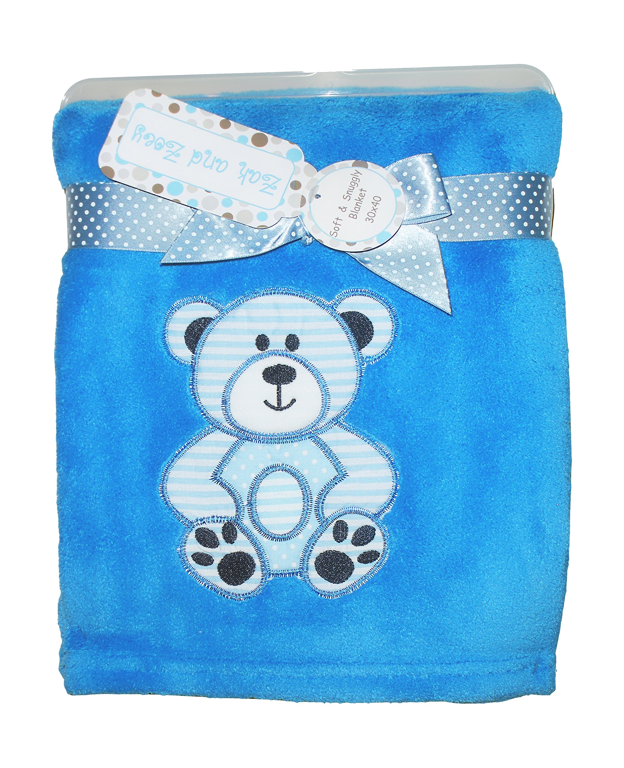 Zak & Zoey Ultra Soft Embossed Plush with Applique Baby Blanket (Teddy Bear Blue)