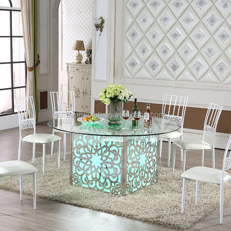 New design LED Light stainless steel wedding dining table and chairs Set
