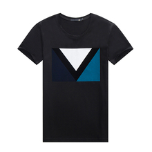 Bulk T Shirt printing Wholesale Triangle Graphic Short Sleeves Black T Shirts