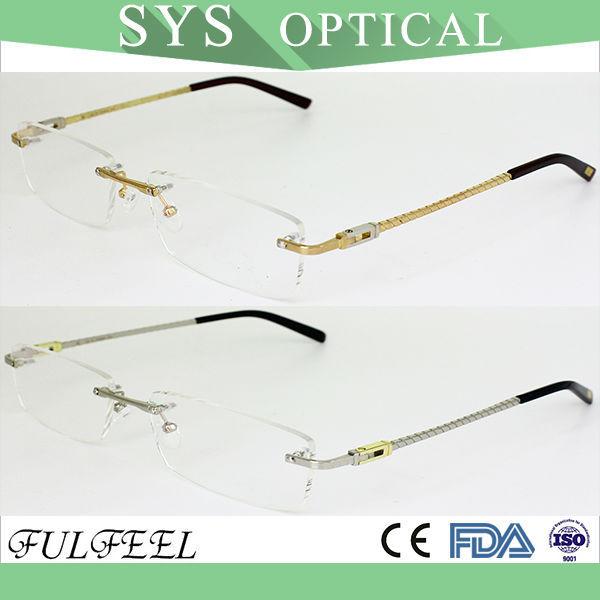 rectángulo clásico de acero inoxidable marco óptico de gafas sin ...