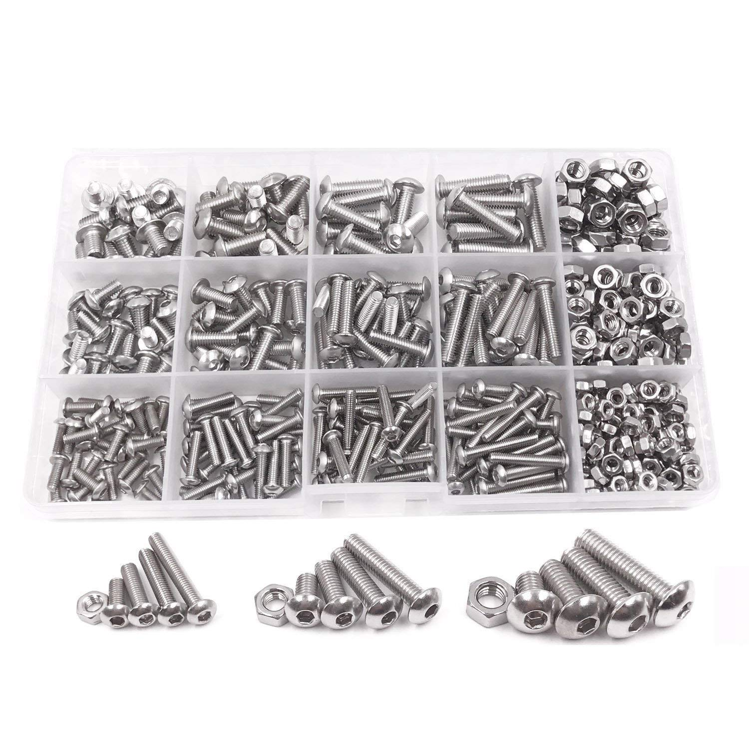 TOOGOO 500pcs M3 M4 M5 A2 Stainless Steel ISO7380 Button Head Hex Bolts Hexagon Socket Screws With Nuts Assortment Kit