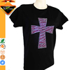 Women's Loose Fit Round Neck T-shirt with Rhinestone Cross Decoration