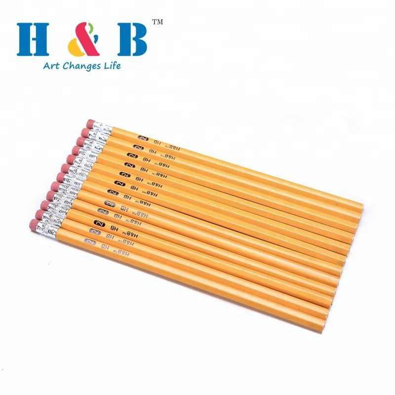 7.5 inch school and office yellow hb wooden pencil