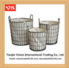 Round industrial wire laundry baskets with handles & button design liner