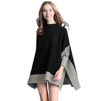High neck women wihter stripe knitted batwing sleeve pink lady slim fit woman poncho sweater