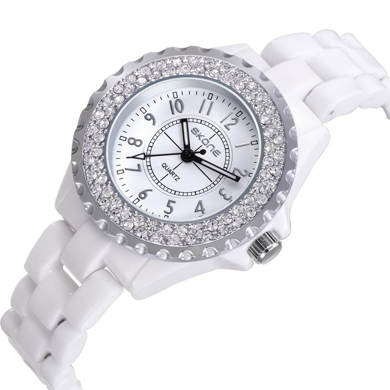 1908184c004f Get Quotations · 2014 Fashion SKONE Watches Women Luxury Brand Ceramic  Woman Wristwatch White KORS Waterproof Quartz Watch Relogio