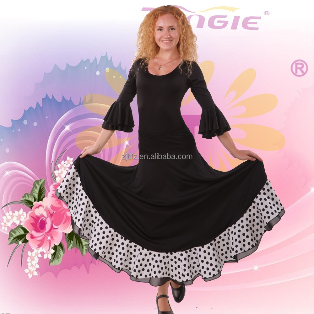 Tongle wholesale long sleeve black fancy spanish flamenco rumba dance dresses costumes with cheap price