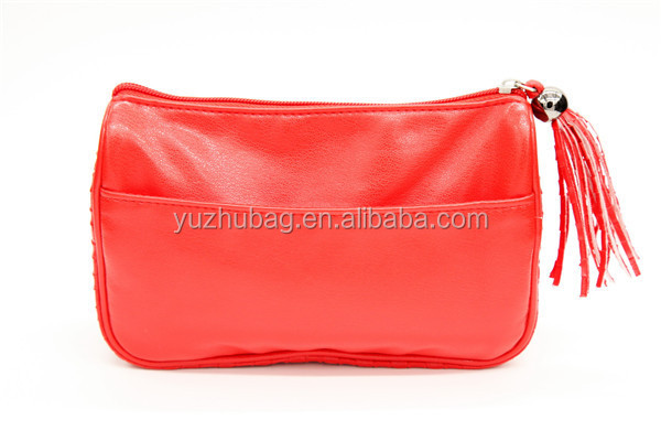 High quallity fancy red pu cosmetic leather pouch