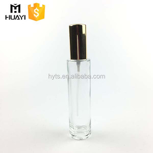 empty thin-round shape 50ml perfume glass bottle with 18/415 aluminium spray pump
