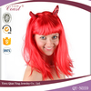 long straight synthetic red color ox horn halloween party wig