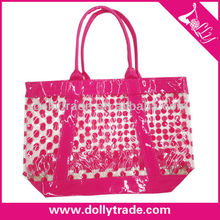 Clear pvc tote bag clear handbag wholesale transparent bag with red pots