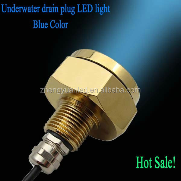 "Super item! 1/2"" NPT threads 24V 1800LM LED 27W Underwater Drain Plug Color Blue Light"