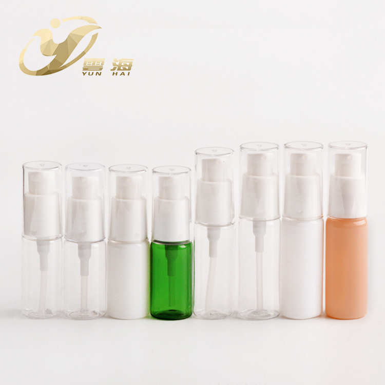 15/20ml colorful <strong>plastic</strong> round empty lotion pump pet cosmetic bottle