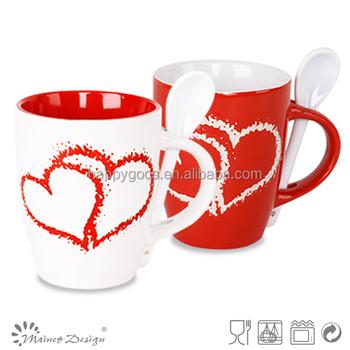 Cuillère Vente Glaçure 2016 Blanc Chaude En De Café Amant Et Buy Grès Tasse Coeur rouge Support Deux deux Tasse À Avec nwP0OX8k