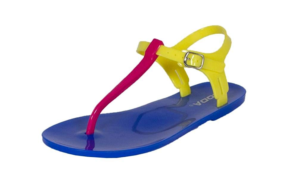 Ian! By Soda Jelly Flat Thong Ankle Strap Sandals in Fuchsia Yellow Blue PVC Colorblock