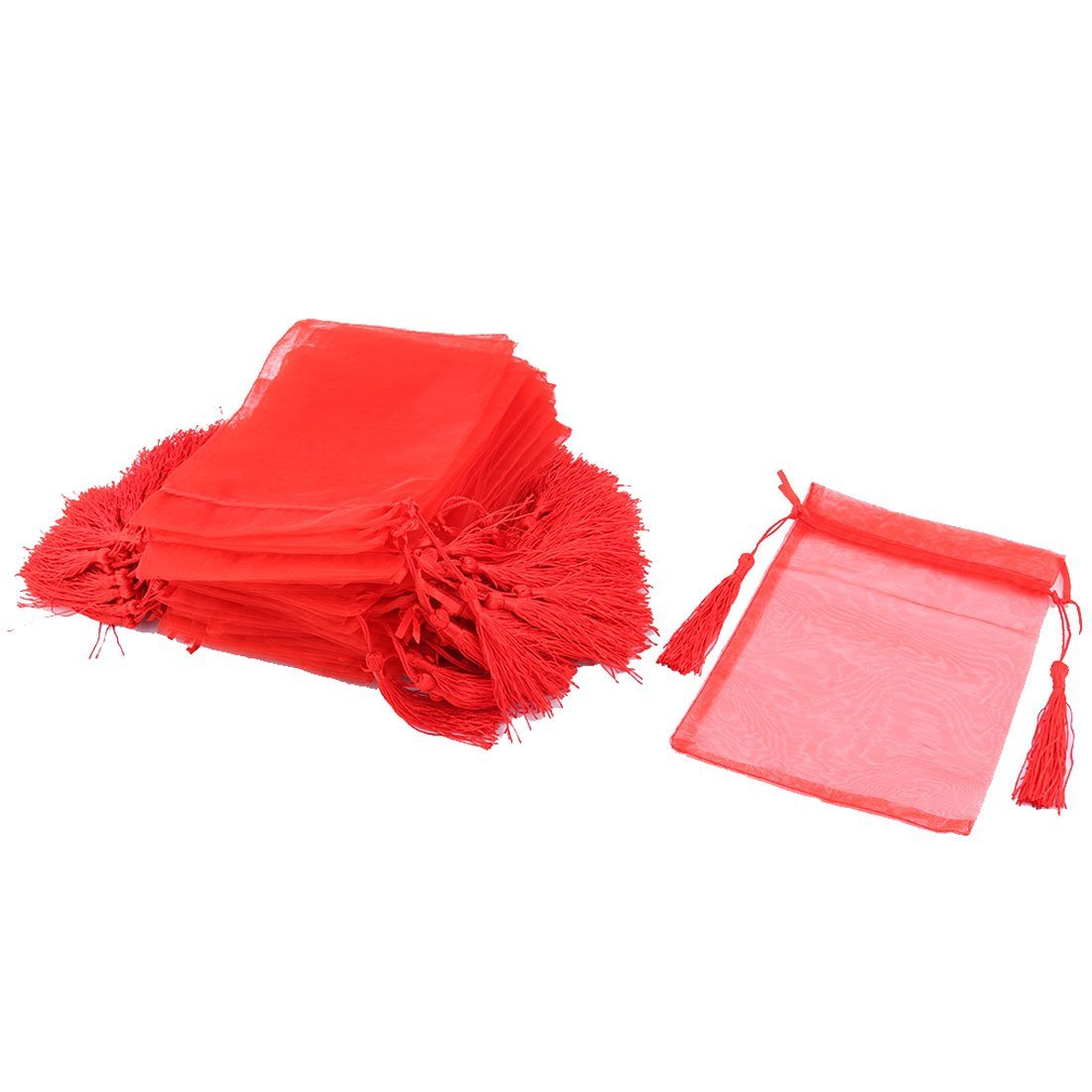 uxcell Organza Wedding Party Tassels Decor Candy Jewelry Pouch Gift Bag 13 x 18cm 50 Pcs Red