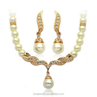 High quality pearl rhinestone necklace set bridal jewelry