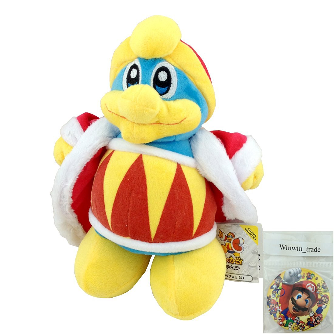 """Generic King Dedede Super Smash Bros Plush Character Toy Super Mario Bros Kirby Stuffed Animal Soft Figure Doll 10"""" with a Free Badge"""