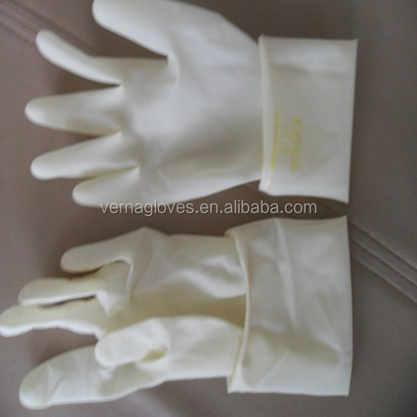 disposable long cuff sterile surgical latex gloves powdered and powder free