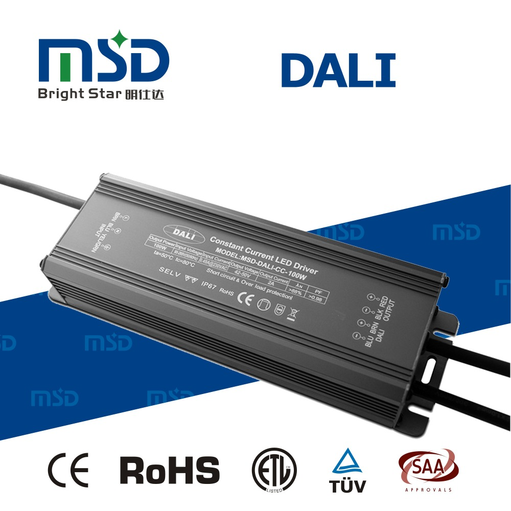 Shenzhen supplier IP67 waterproof electric switching power supply 100W dali dimmable led driver CC 2000ma 3000ma led converter
