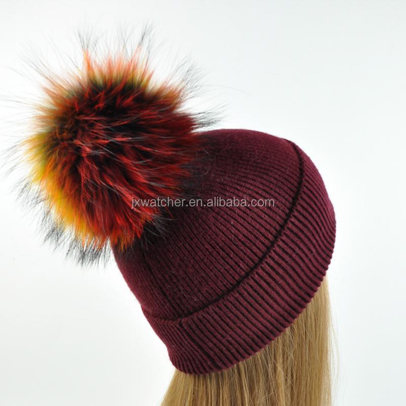 da525d7ba72 High Quality Angora Cable Knit Beanie Fur Pom Hat   Custom Fur Pompom Hats    Beanie