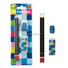 Promotional practical 4pcs HB back to school pencil gift set