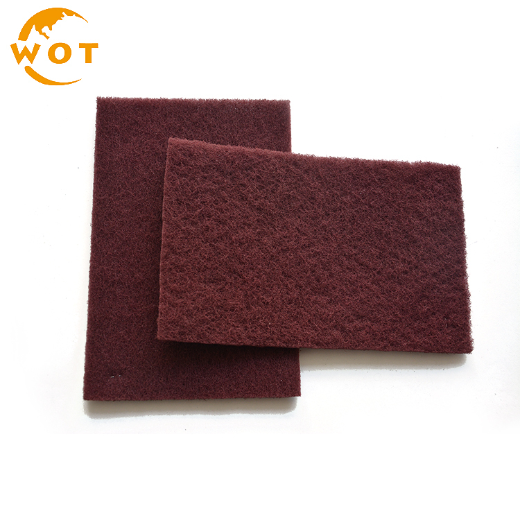 China Supplier 150X230Mm Maroon Aluminium Oxide Scouring Pads