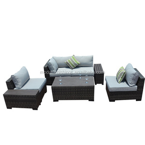 Modern New Design Outdoor Wicker Patio PE Rattan Garden Plastic Wood Sectional Furniture Sofa Set with Cushion