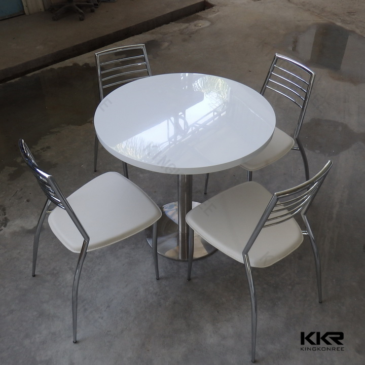 acrylic man made stone coffee shop tables and chairs