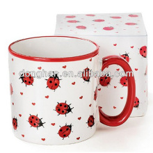 Gift item of ceramic Embossed Ladybug Coffee Mug cup