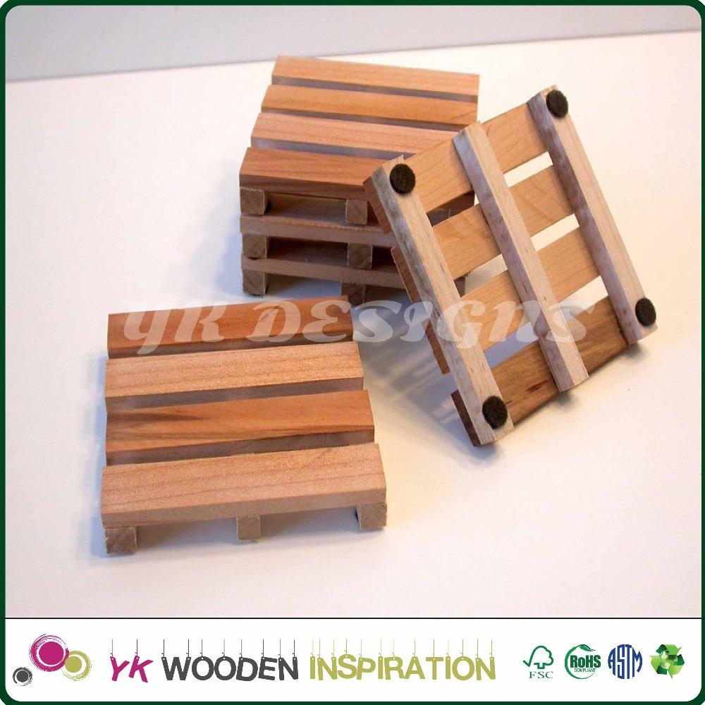 muestra de madera pallet coaster coaster de madera para la decoracin casera