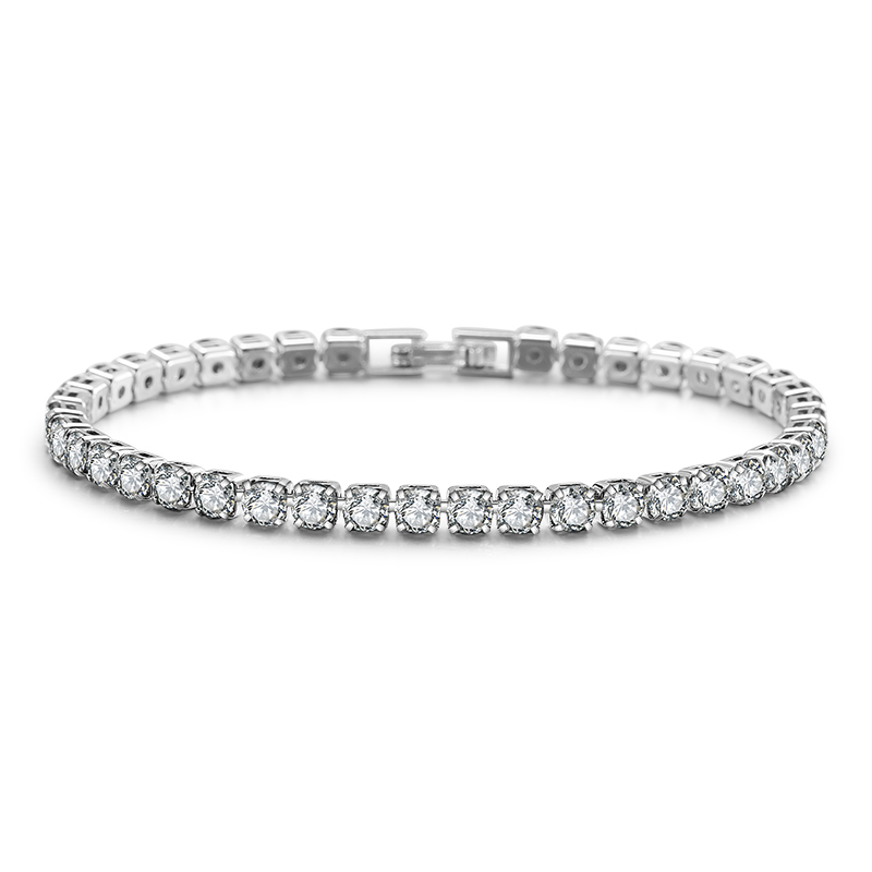 RAKOL B171 Zircon Cute <strong>Tennis</strong> <strong>Bracelet</strong> Chain Wedding Bridal Jewelry <strong>CZ</strong> Stone Brass Bangle Link <strong>Bracelet</strong>