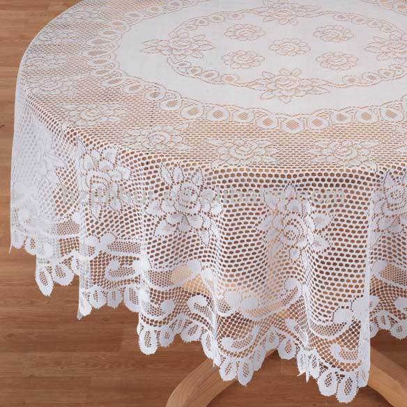 Rose Tablecloths For Round Tables Vintage Crochet Lace Tablecloth