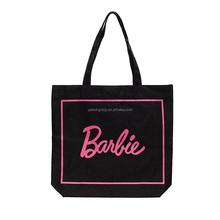 Promotion Eco-friendly Women Black Cotton Tote Bag With Customized Logo
