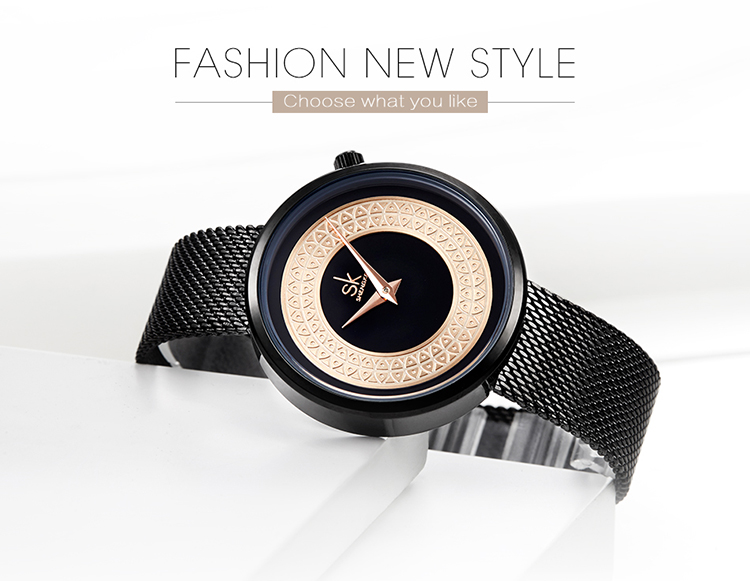 Shengke Fashion Black Women Watches 2019 High Quality Ultra thin Quartz Watch Woman Elegant Dress Ladies Watch Montre Femme SK