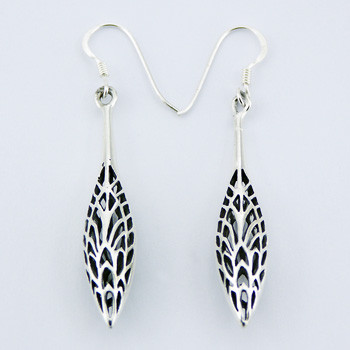Peculiarly Elegant Bali Style Ornate Sterling Silver Dangle Earrings