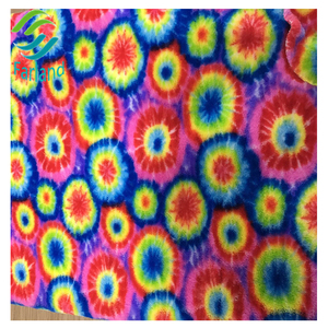 Colorful dot pattern print circular knitted pv plush fabric 250gsm