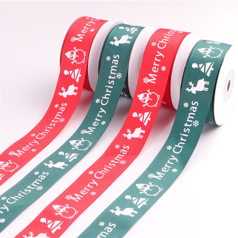 Best selling 25mm printed Christmas grosgrain ribbon with stock 25mm Christmas ribbon 1inch grosgrain ribbon фото