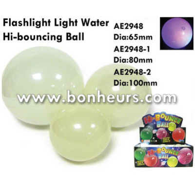 New Novelty Toy Colorful 80Mm Flashing Water Hi Bouncing Ball