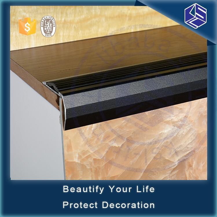 Rubber Insert Wood Grain Aluminum Skidproof Edge Stair Nosing Ceramic Tile  Stair Nosing